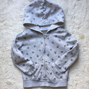 Jumping Beans Sparkly Silver Heart zip hoodie 2T